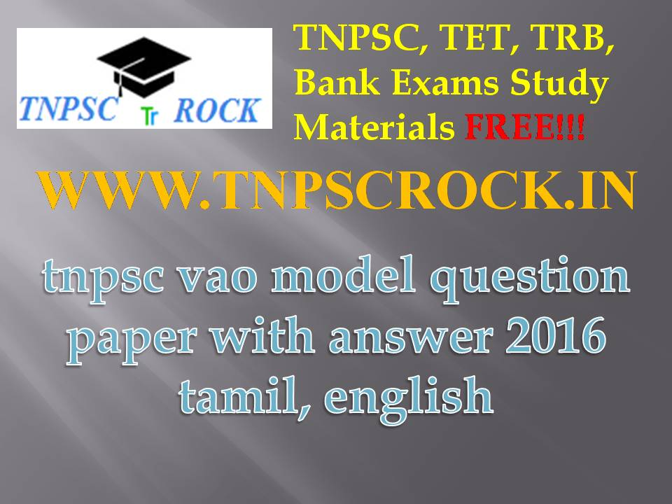 Tnpsc Group Vao Exam Model Question Papers Answer Pdf
